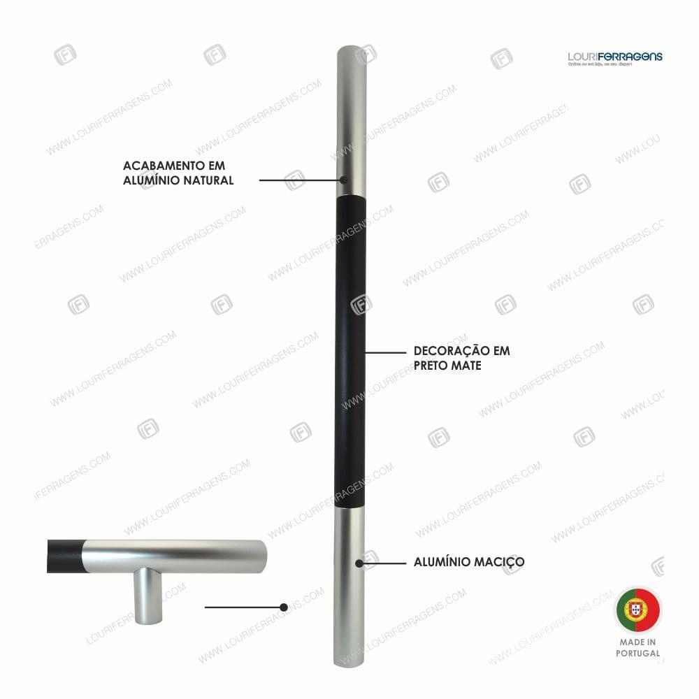 """Puxador/Asa Porta Redonda """"Duo"""" Ø30mm (600-1200mm)  Alum. Natural + Preto"""