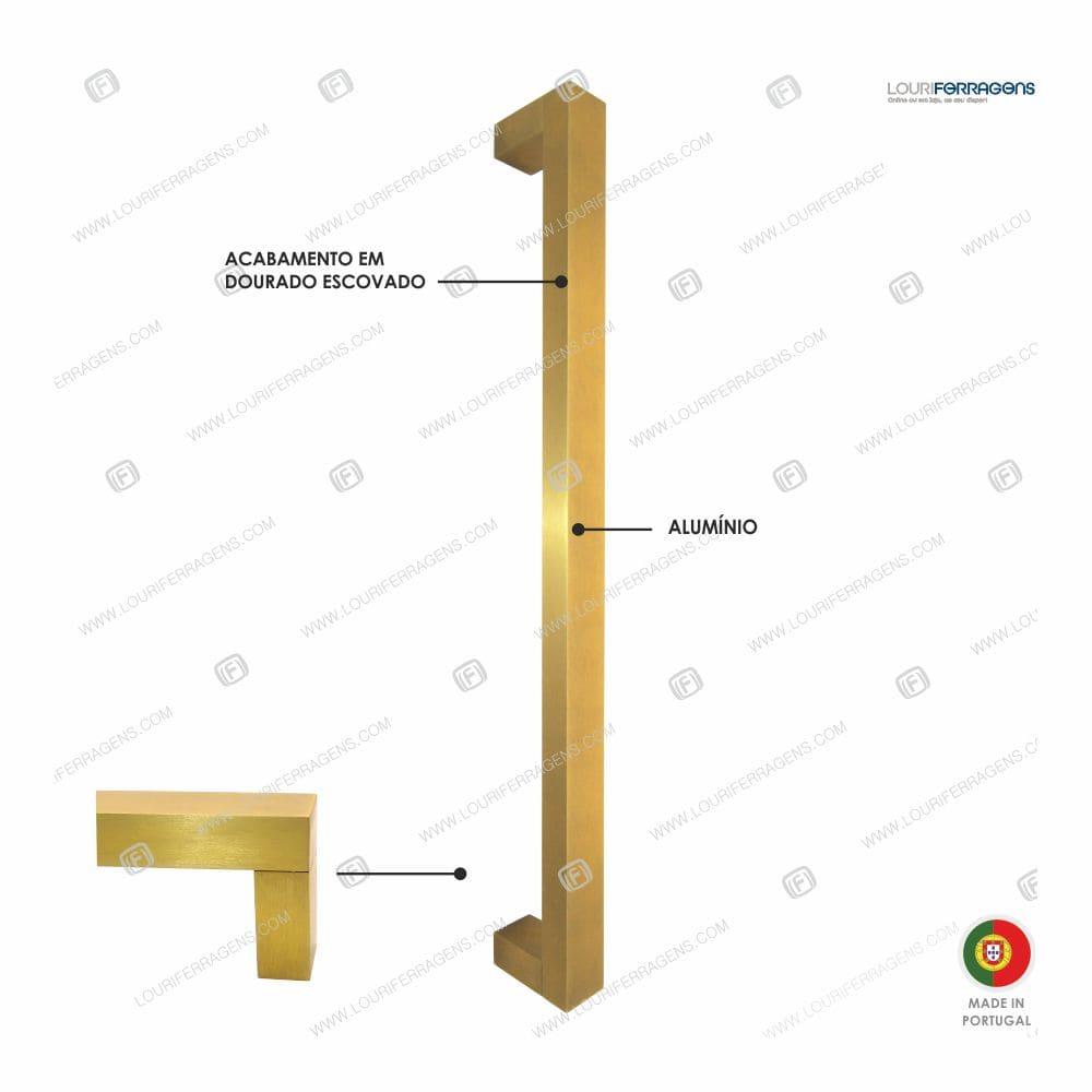 Puxador/Asa Móvel Reta 15x15 (350 a 500mm) Dourado Escovado