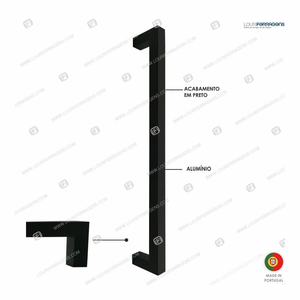 Puxador/Asa Móvel Reta 15x15 (350 a 500mm) Preto Mate