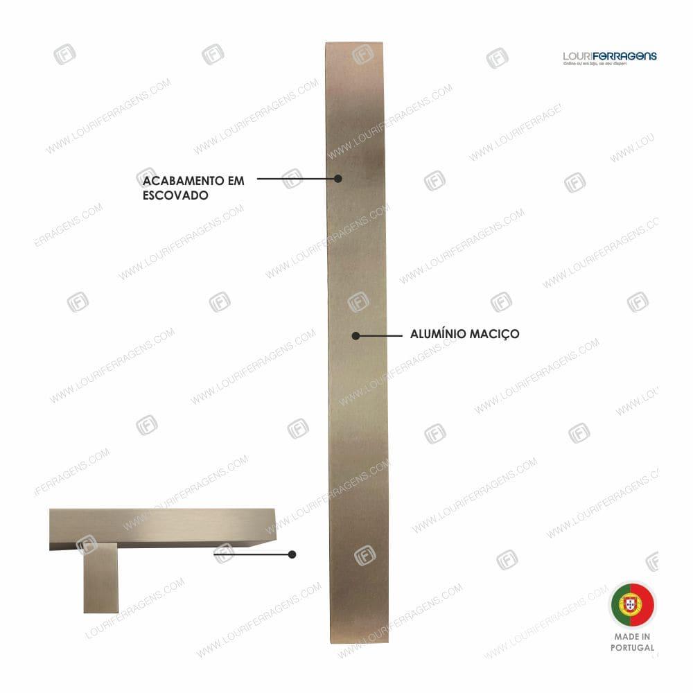 Puxador/Asa Porta Reta 40x20 (600-2000mm) Cor Inox