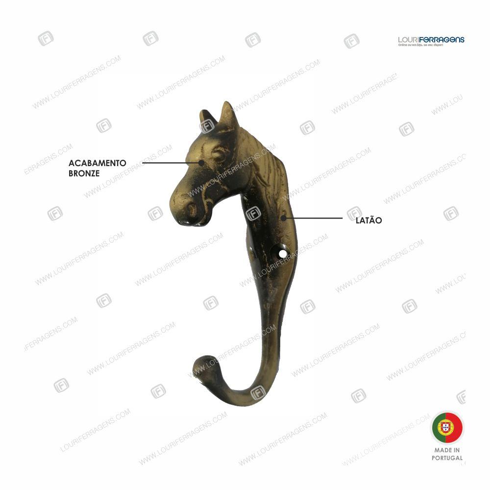 """Cabide Parede Rústico """"Cabeça Cavalo"""" Pequeno Bronze"""