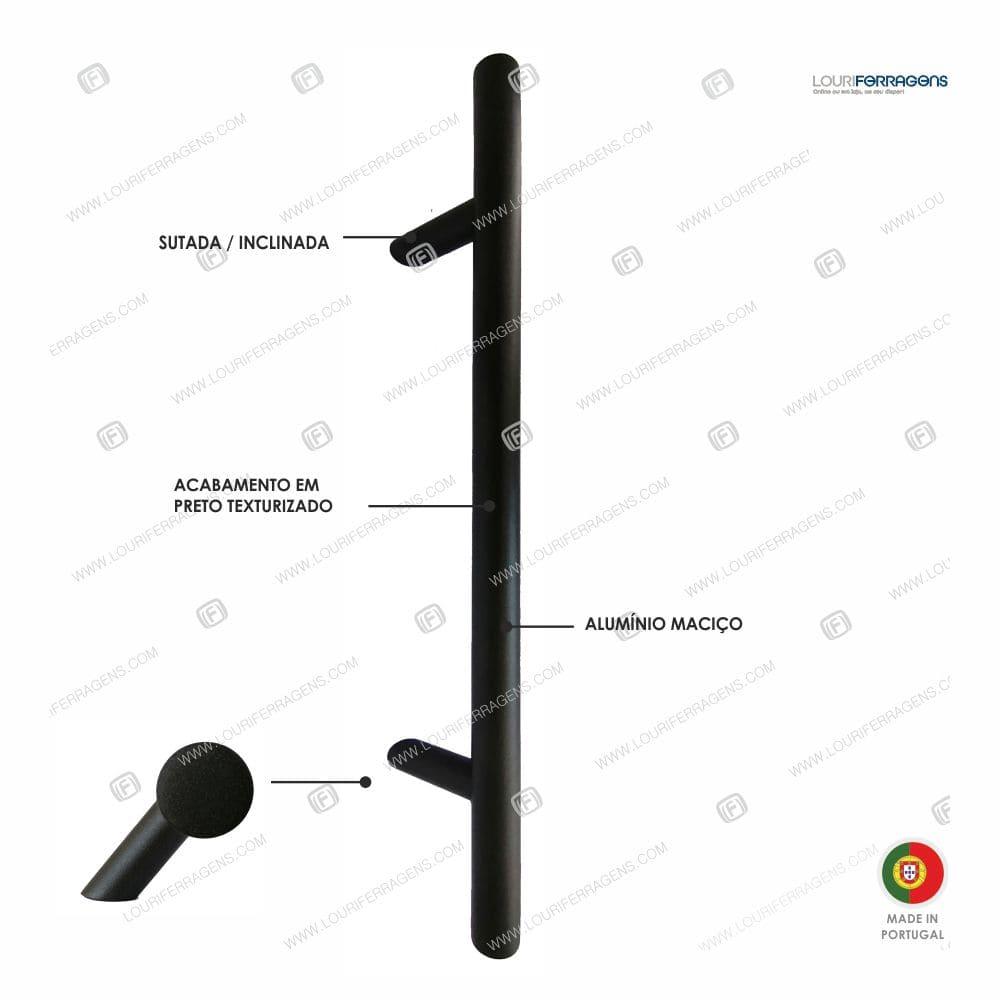 Puxador/Asa Porta Redonda Sutada Ø30mm (500-1800mm) Preto