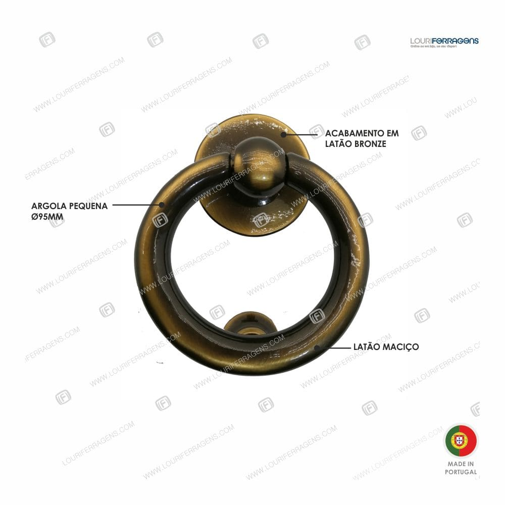 Batente Porta Argola 33 Latão Bronze